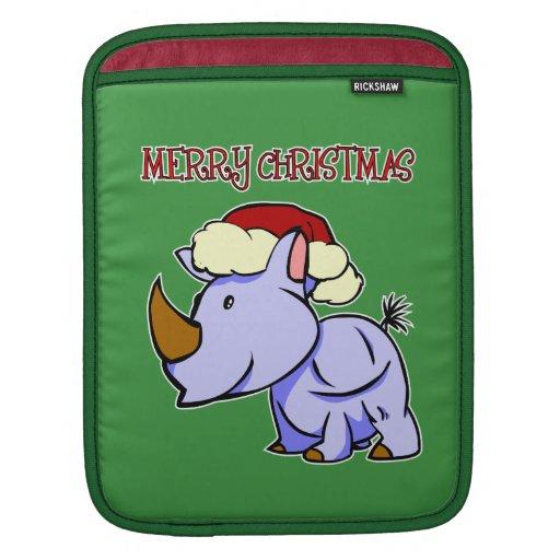 Manga del iPad de las Felices Navidad del rinocero Mangas De iPad