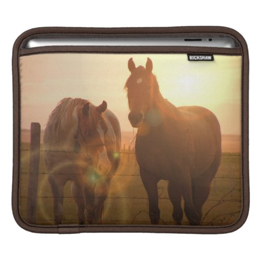 Manga del iPad de los caballos de la puesta del so Funda Para iPads