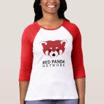 Manga del logotipo 3/4 de la panda roja camiseta