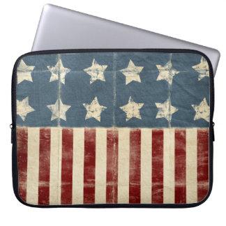 Manga del ordenador portátil de la bandera america funda portátil