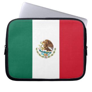 Manga del ordenador portátil de la bandera mexican fundas portátiles