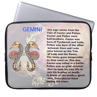 Manga del ordenador portátil de los géminis del or fundas computadoras