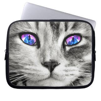 Manga del ordenador portátil de los ojos de gato fundas ordendadores