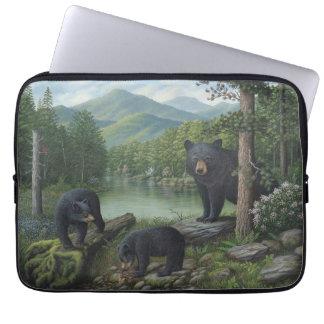 Manga del ordenador portátil de los osos negros fundas ordendadores