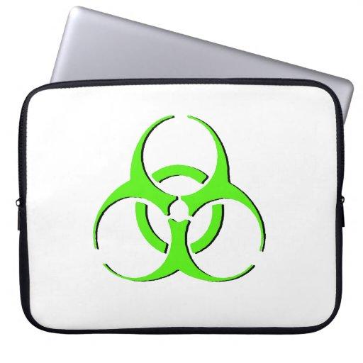 Manga del ordenador portátil del Biohazard - verde Funda Portátil