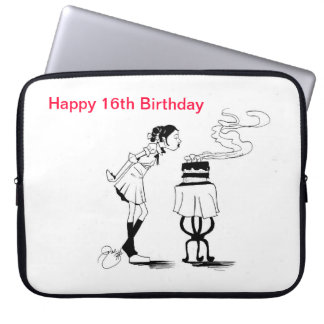 Manga del ordenador portátil del feliz cumpleaños funda computadora