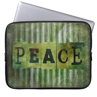 Manga del ordenador portátil del grunge de la paz fundas portátiles