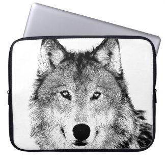 Manga del ordenador portátil del lobo fundas ordendadores