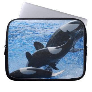 Manga del ordenador portátil del trío de la orca funda portátil