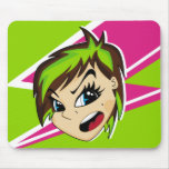 Manga diseñó al chica Mousepad de Emo Tapetes De Ratones
