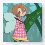 Manga fairy forest glade girl wall clock