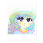 Manga Fairy Girl Anime Colorful Rainbow Magic Eyes Postcard