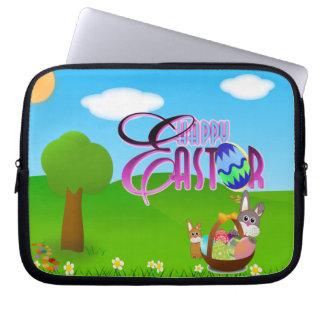 Manga feliz del ordenador portátil de Pascua Fundas Ordendadores