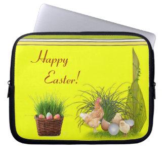 Manga feliz del ordenador portátil de Pascua Funda Para Ordenador
