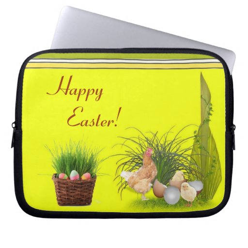 Manga feliz del ordenador portátil de Pascua Fundas Portátiles
