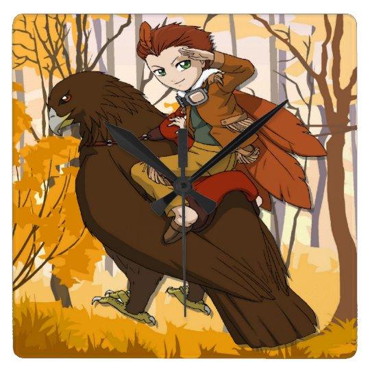 Manga fiairy, boy riding a bird square wall clock