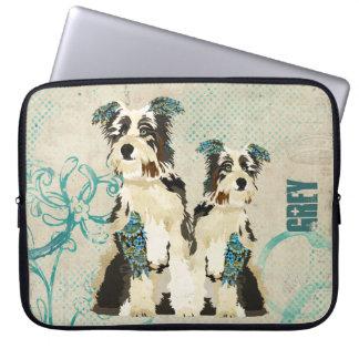 Manga floral azul del ordenador de los perros del  fundas computadoras