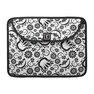 Manga floral blanca negra elegante de la aleta del fundas para macbook pro