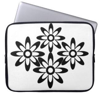 Manga floral blanco y negro del ordenador portátil manga computadora
