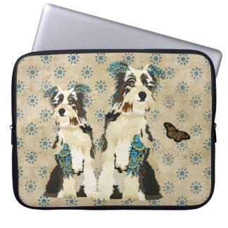 Manga floral del ordenador de los perros del vinta funda portátil