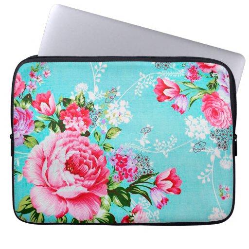 Manga floral rosada elegante del ordenador portáti fundas ordendadores