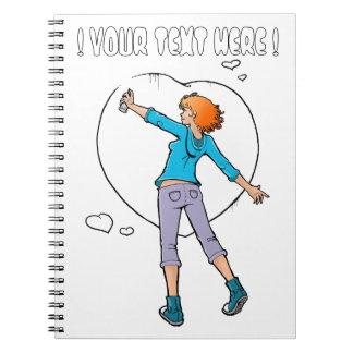 Manga Girl Hearts grafitera journal Spiral Notebook