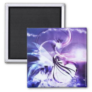 manga girl the moon 2 inch square magnet