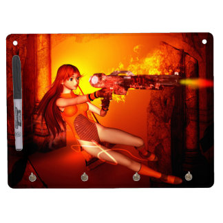 Manga girl with a weapon Dry-Erase boards