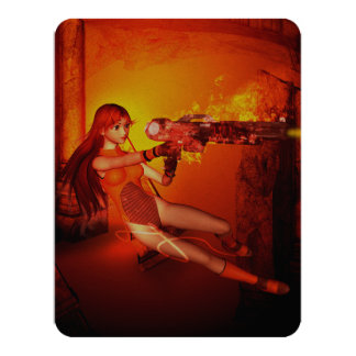 Manga girl with a weapon 4.25x5.5 paper invitation card