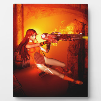 Manga girl with a weapon plaque
