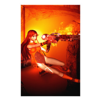 Manga girl with a weapon customized stationery