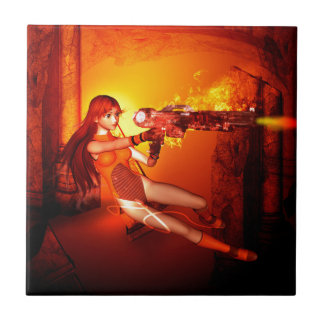Manga girl with a weapon ceramic tiles