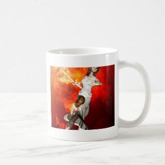 Manga girl with swords classic white coffee mug