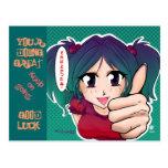 Manga girl with thumb up - card postcard