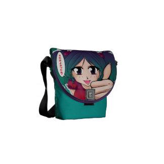Manga girl with thumb up messenger bags