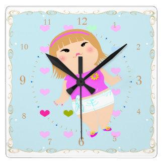 manga gordo lindo Japón del dibujo del chica Relojes De Pared