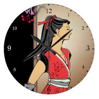Manga Japón del dibujo del chica de NINJA Relojes De Pared
