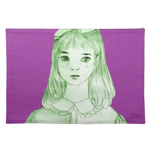 manga Japón del dibujo del chica Mantel Individual