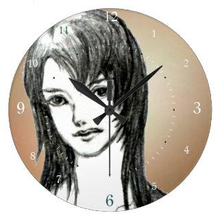 manga Japón del dibujo del chica Reloj De Pared