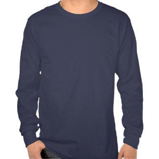 Manga larga básica de los azules marinos camiseta