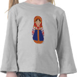 Manga larga del chica del niño ruso de Matryoshka Camiseta