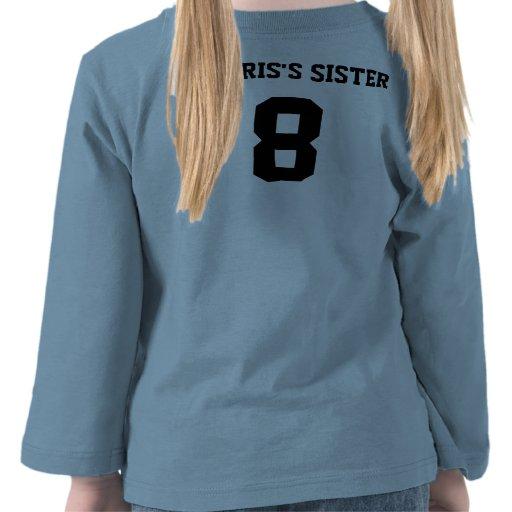 Manga larga del niño del número de las hermanas az camisetas