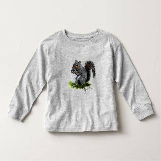 Manga larga del niño gris de la ardilla camisas