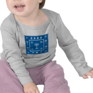 Manga larga infantil azul del adorno de Jánuca Camisetas