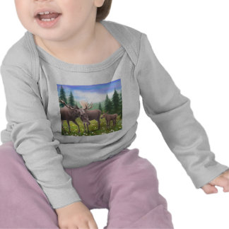 Manga larga infantil de la familia de los alces camiseta