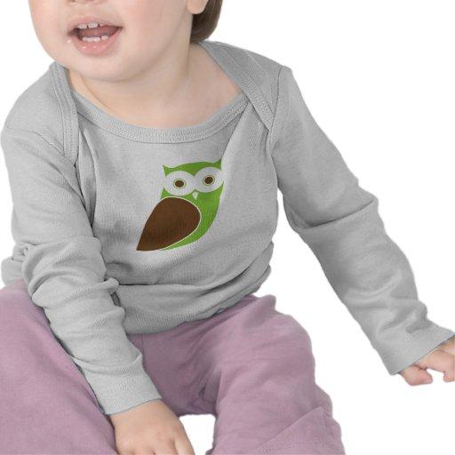 Manga larga infantil/enredadera del búho moderno camiseta