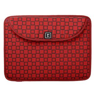 Manga negra roja clásica de la aleta del carrito fundas para macbook pro