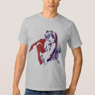 "Manga Neko Catgirl Pinup girl ""LooselyBasedOn"" T-shirt"