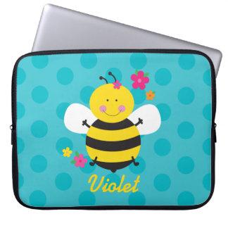 Manga personalizada abeja linda del ordenador funda portátil