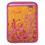 Manga personalizada floral anaranjada rosada del i funda para iPads